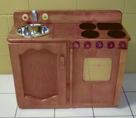 Wooden sink stove plan in rosewood
