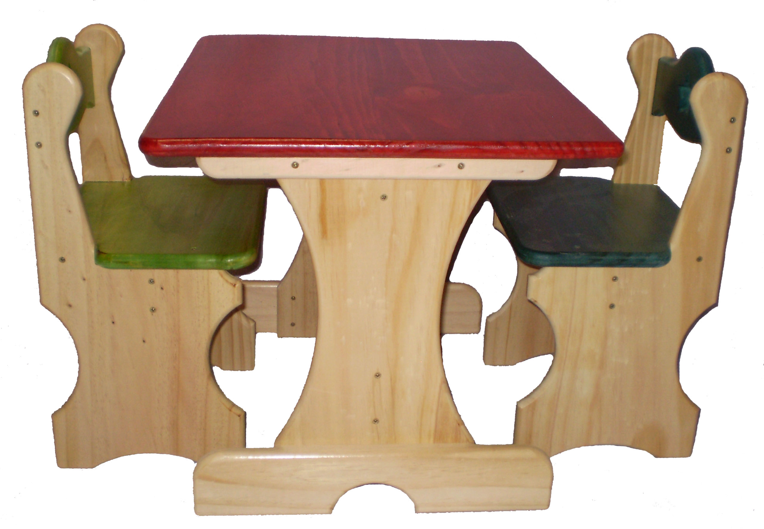 Wooden Childs table and 2 coloured chairs plans