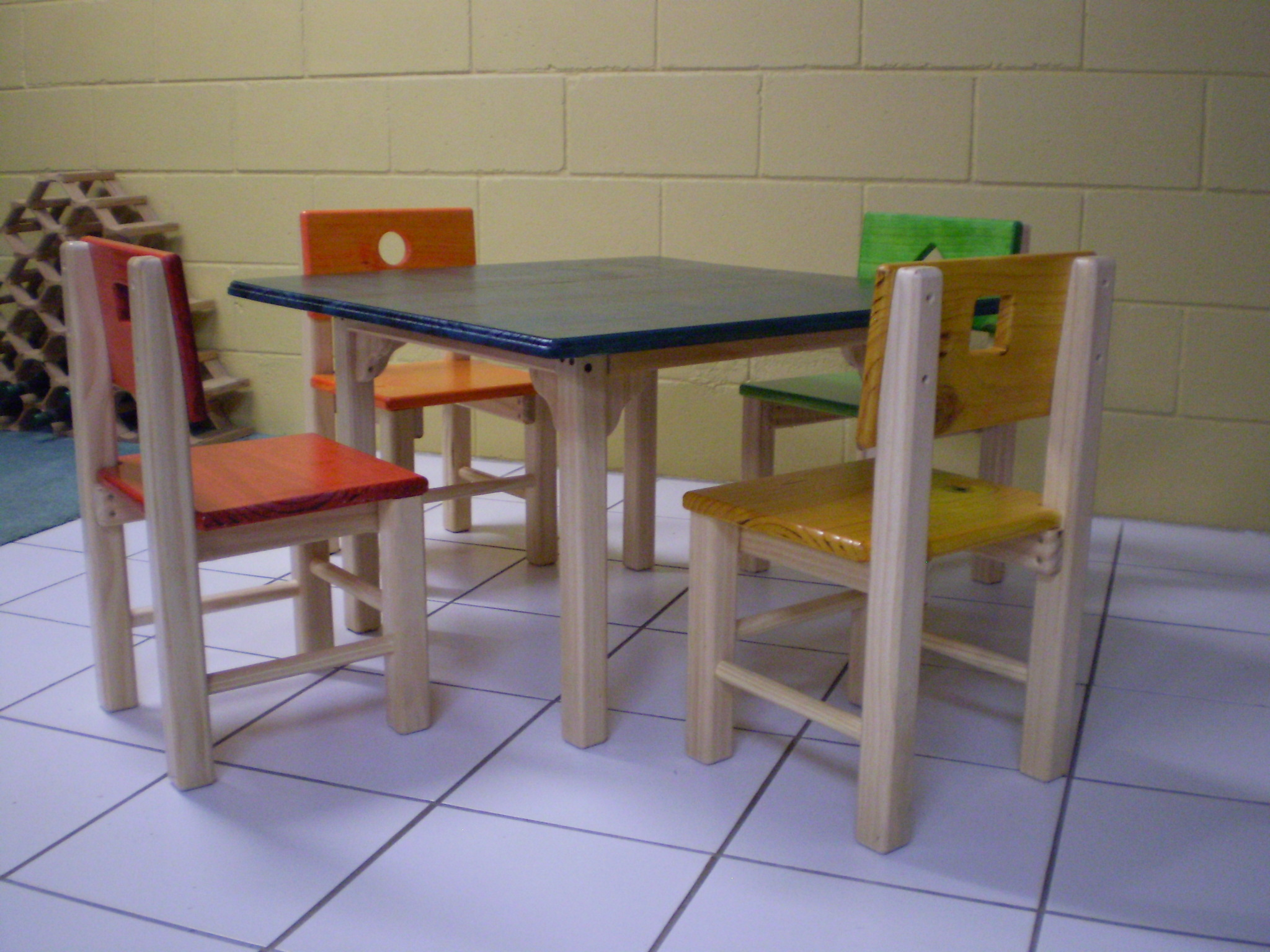 Childrens wooden table and 4 chairs