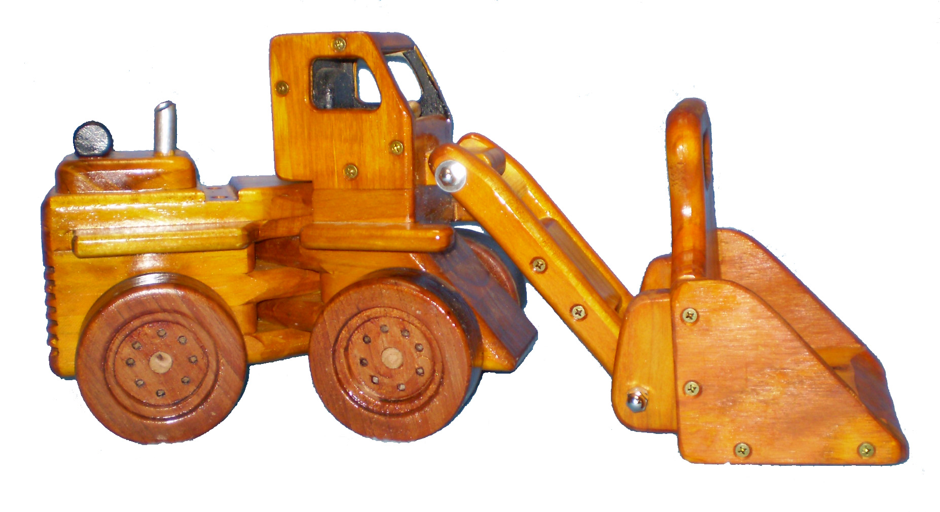 Wooden toy front end loader
