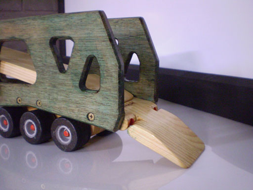 car trailer close up of ramp wooden toy